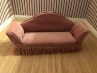 Dolls House Plush Velour Dusky Pink Fringed Settee 1:12 Th NEW 70s 80s Style