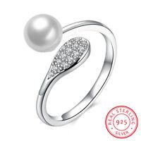 Genuine 925 Sterling Silver Crystal Teardrop Pearl Wedding Engagement Band Ring