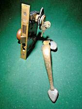Yale # 7428 Brass Entry Mortise Lock Set w/Lock Cylinder, Keys, Knobs (13198)