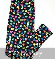 LuLaRoe TC2 Leggings Puppy Dog Kitty Cat Rainbow Paw Prints Black Background NEW