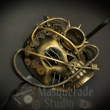 Mens Steampunk Skull Victorian Costume Theater Halloween Masquerade Mask [Gold]