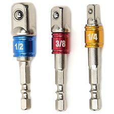 Power Hand Tools Driver Extension Socket Adapter Sets 3 Pcs 1/43/8