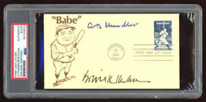 SPUD CHANDLER & BOWIE KUHN SIGNED BABE RUTH STAMP 1983 FIRST DAY ISSUE COVER PSA