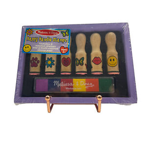 Melissa And Doug Happy Handle Stamps Set Of 6 Wooden Stamps and 6 Ink Colors New