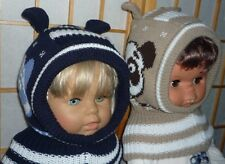 Mollig warme Schlupfmütze Schalmütze Mütze Pandabär 2 Ohren +Fleece 2-6J  d.blau
