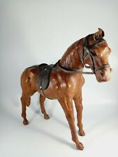 More details for lovely vintage leather clad horse with saddle and bridel - good condition