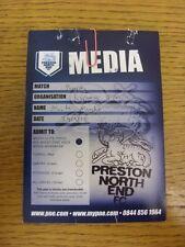 29/03/2013 Ticket: Preston North End v Portsmouth [Media Pass] (Creased & Worn).