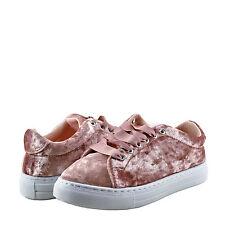 Women's Shoes Qupid Reba 161C Lace Up Sneaker Pink Crush Velvet *New*