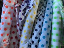 Poly Cotton Polka Dots on White various colours £ per metre