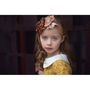 Beautiful Persnickety Baby Girl Flower Field Headband Autumn Gold  Small!