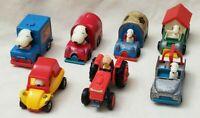Lot of 7 Peanuts Snoopy Charlie Brown Diecast Cars AVIVA Hong Kong Vintage