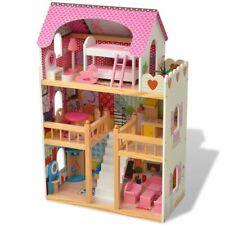 vidaXL 3-Etagen Puppenhaus Barbiehaus Puppenstube mit Möbeln Holz 60x30x90 cm