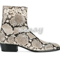 Men's Chelsea Boots Snakeskin Leather Cowboy Combat Pointy Toe Chunky Heel Pumps
