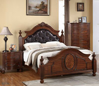 NEW ANDROS TRADITIONAL BURNISHED CHERRY FINISH WOOD QUEEN or KING FOUR POST BED