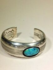 Cuff with 2 Turquoise Stones * Native American Dan Jackson Sterling Silver