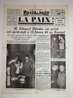 N1173 La Une Du Journal Paris-soir 1 octobre 1938 Édouard daladier au Bourget