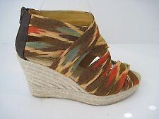 Bettye Muller Multicolored Fabric Espadrille Platform Wedge Size 39, MSRP $199