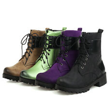 Women's Combat Boots Lace Up Martin Round Toe Block Heel  Military Ankle Boots