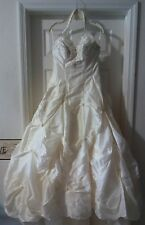 HOUSE OF WU Private Collection 8129 White w/Silver beading A-line Halter Size 12