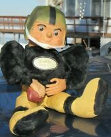"""VINTAGE RUBBER FACE PLUSH TOY 15"""" YELLOW BLACK SCHAFER VIKINGS DOLL FOOTBALL"""