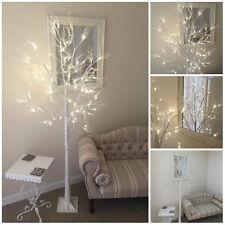 Shabby Chic 96 LED Large 6ft White Glitter Pre Lit Christmas Twig Xmas Tree