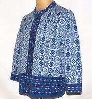 Telluride Clothing Nordic Icelandic Fair Isle Cardigan Sweater Pewter Clasps XL