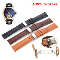 Mens Genuine Leather Steel Butterfly Clasp Buckle Watch Strap Band 18-24mm