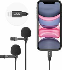 Movo iLav-DUO Dual Lightning Lavalier Clip-on Interview Microphone for iPhone