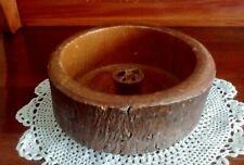 "VINTAGE ELLWOOD RUSTICWARE Wooden Tree Bark NUT BOWL 6"" Wood Log  US w/storage"