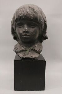 "Alva Studios 1958 Little Boy Bronze Bust Replica Sculpture 16.75"" H"