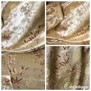 """1 METER GOLD BROWN CHINESE SHINY FLORAL BROCADE FABRIC 46"""" WIDE"""
