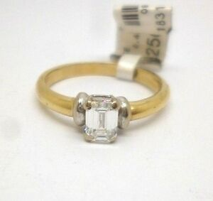 18ct Gold Diamond Engagement Ring 0.45ct Emerald Cut Diamond Solitaire Ring