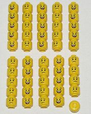 LEGO LOT OF 50 NEW DUAL SIDED HEADS WITH LARGE SMILE GRIN AND CRY FACE