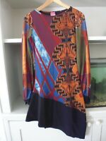 SAVE THE QUEEN ASYMETRICAL DRESS - LONG SLEEVES - BLACK ORANGE MIX - L - BNWT
