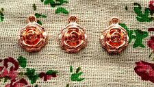 Rose flower copper 10 charms jewellery supplies C887
