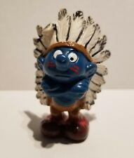 Smurfs Indian Smurf 20144 Chief Vintage Figure PVC Figurine 1981 Schleich Peyo