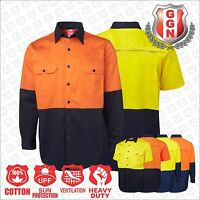 Mens WORK SHIRT HI VIS SAFETY COTTON DRILL,ARM & BACK VENTS AUS/NZ Standard