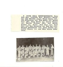 Rose Hill Independents Kansas 1953 Baseball Team Picture