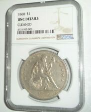 1860 US $1 Seated Liberty 90% Silver Dollar Coin NGC UNC Details Cleaned Rare!