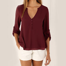 Womens Chiffon Tops Blouse Long Sleeves Plus Size ladies Casual Loose T Shirts