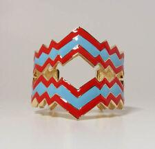 BNIB DISAYA Tidal Wave Electric Cuff Bangle Red Blue Hand Painted Enamel