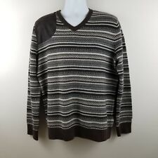 Tommy Hilfiger Mens Sweater L Brown Nordic V-Neck Elbow Patches Wool Blend J6