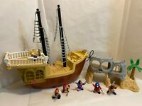 Fisher Price Great Adventures PIRATE SHIP Skull Island w/ Figures Lot 1994 1995