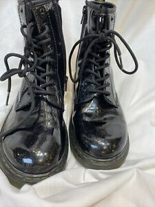 Women's Girls' Size 5 UK 4  Dr. Martens 1460 BLACK GLITTER Y Boots PERFECT