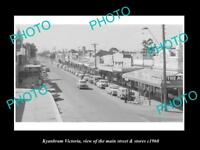 OLD LARGE HISTORIC PHOTO OF KYABRAM VICTORIA, VIEW OF THE MAIN St & STORES c1960