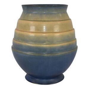 Roseville Pottery Futura 1928 Blue Tan Art Deco Stepped Egg Vase 424-7