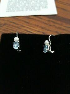 Beautiful Sterling Silver Genuine Pearl & Blue Topaz Pierced Earrings