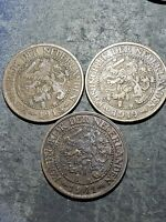 3 Coin Lot. 1913 + 1919 + 1941 NETHERLANDS 2 1/2 CENT - HIGH Quality Coins
