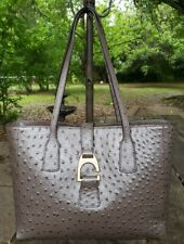 Dooney & Bourke Pewter Ostrich Leather Small Shannon Tote SHOPPER BOSTR1371