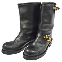 Authentic CHANEL Vintage CC Logos Boots Black Leather France M13919g